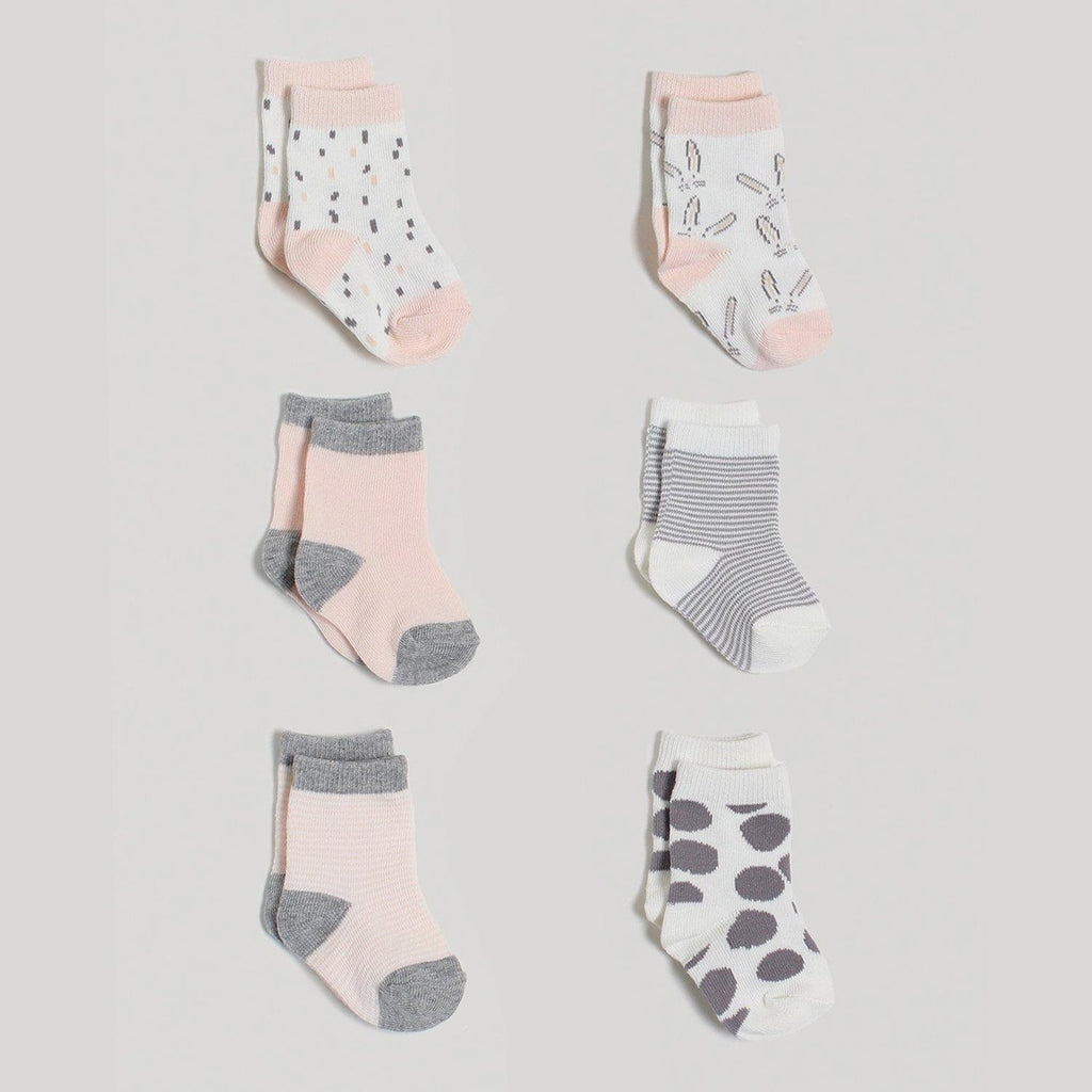 Pink Crew Socks 6 Pack in Gift Box - Snugabye Canada