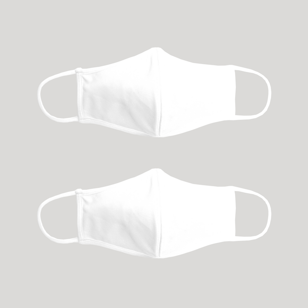 Adult White Reusable 3ply Fabric Face Masks - 2PK - Snugabye Canada