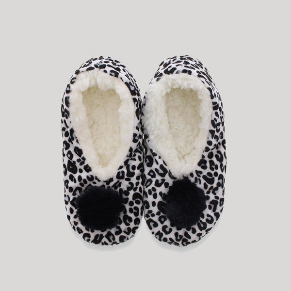 Ladies Leopard Plush Black Slippers - Snugabye Canada