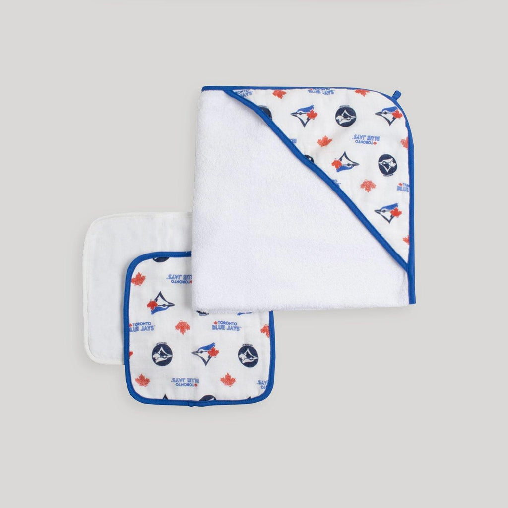 Blue Jays Hooded Towel and 2 Pack Wash Cloth Set - Snugabye Canada