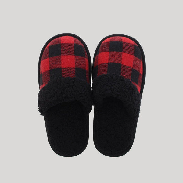 Ladies Buffalo Plaid Sherpa Slippers - Snugabye Canada