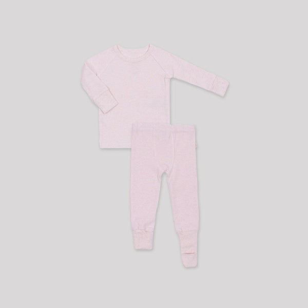 Pink Ribbed Convert-A-Foot Sleeper Set - Snugabye Canada