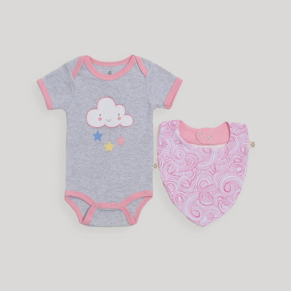 Pink Cloud Bodysuit & Bib Set - Snugabye Canada