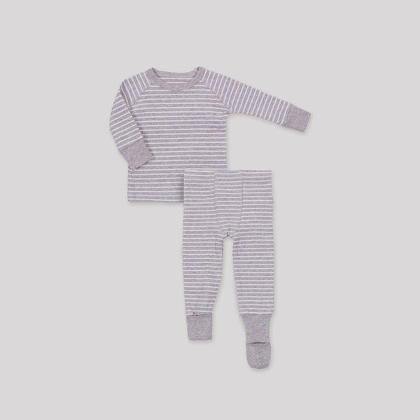 Striped Ribbed Convert-A-Foot Sleeper Set - Snugabye Canada