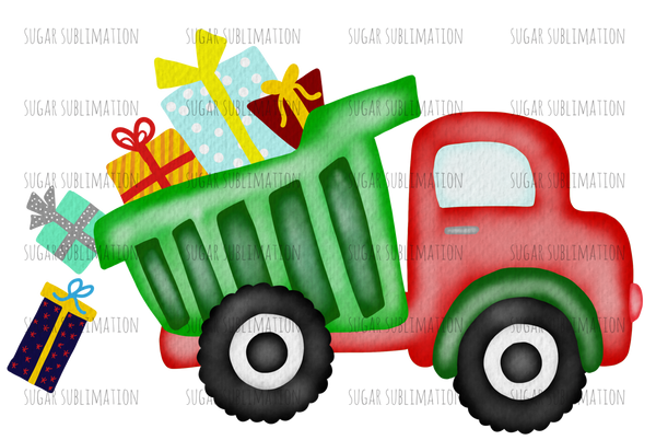 Christmas dump truck - presents - polka dot - blue | girl - sublimation transfer
