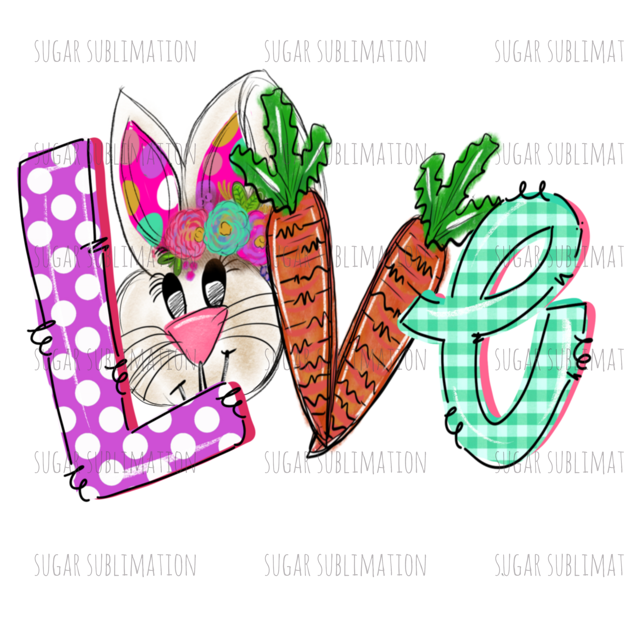 Easter Love - character - bunny - sublimation transfer