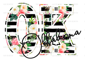 State floral-hand lettered- sublimation transfer