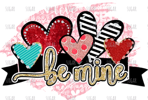 Be Mine Hearts - red stripe-sublimation transfer
