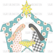 Floral Nativity Scene - Christmas - sublimation transfer