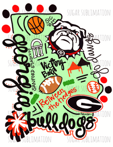 Georgia bulldogs- football state - DOODLE- sublimation transfer