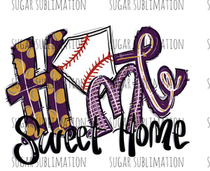 Baseball home sweet home - purple- gold - Sublimation Transfer