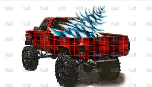 Plaid pick up Christmas truck - sublimation transfer