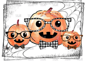 Pumpkin Hipster Trio - sublimation transfer- hounds-tooth- plaid
