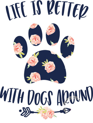 Floral Dog - Life is Better with Dogs Around- Sublimation Transfer- Ready to Press