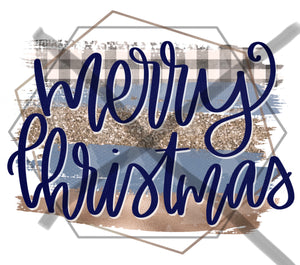 Merry Christmas - blue|gold plaid - sublimation Transfer