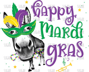 Happy Mardi Gras donkey - sublimation Transfer
