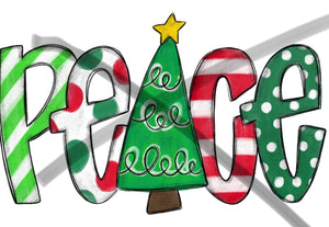 Peace - Christmas Tree- polka - Sublimation Transfer