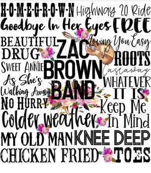 Zac Brown Band - word art - Sublimation Transfer