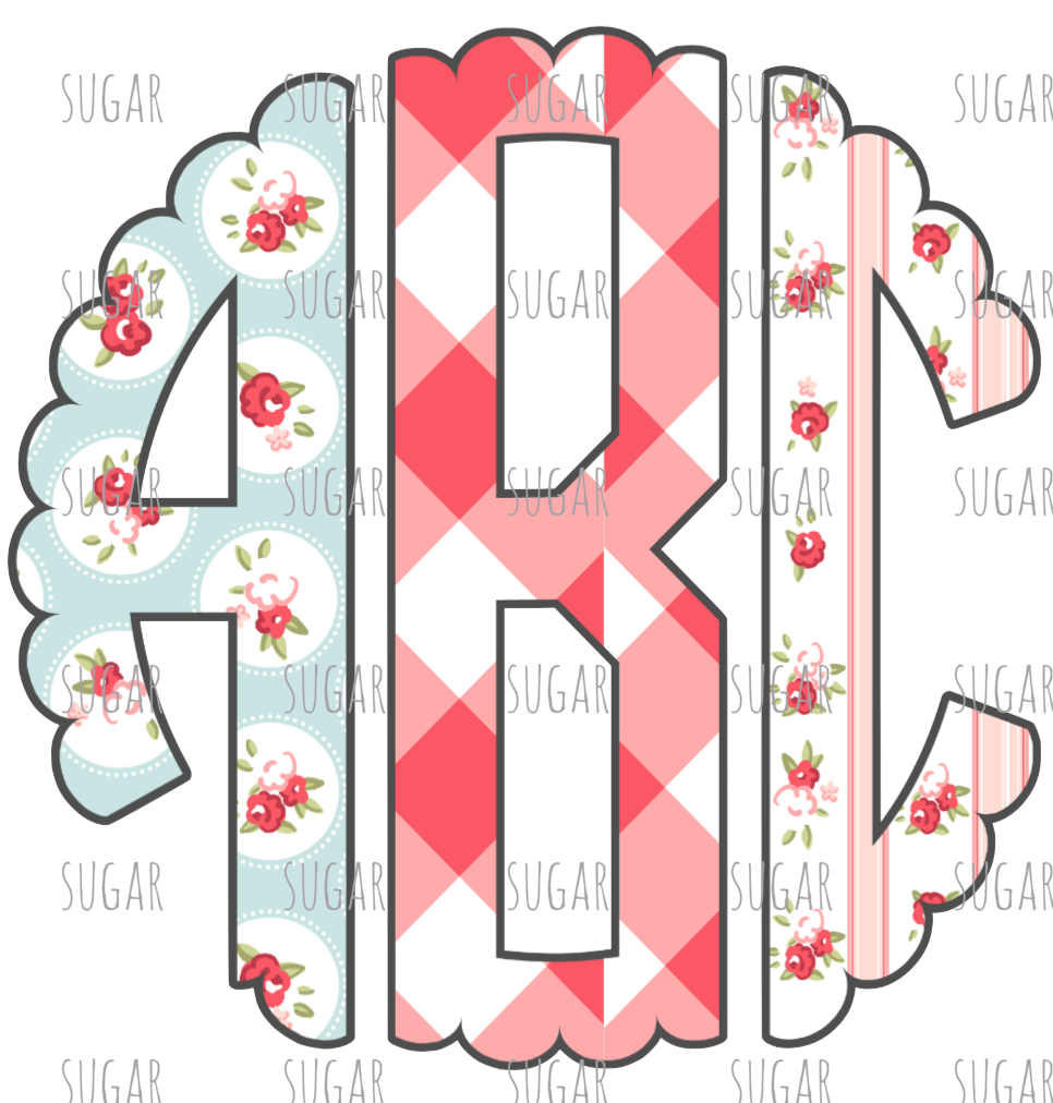 Floral scalloped Monogram- Sublimation Transfer