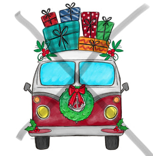Christmas Hippie Van - presents- Sublimation Transfer