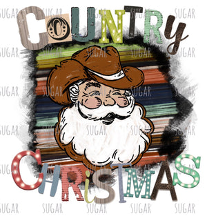 Country Christmas Santa - serape- Sublimation Transfer