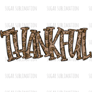 Thankful - leopard doodle - sublimation transfer