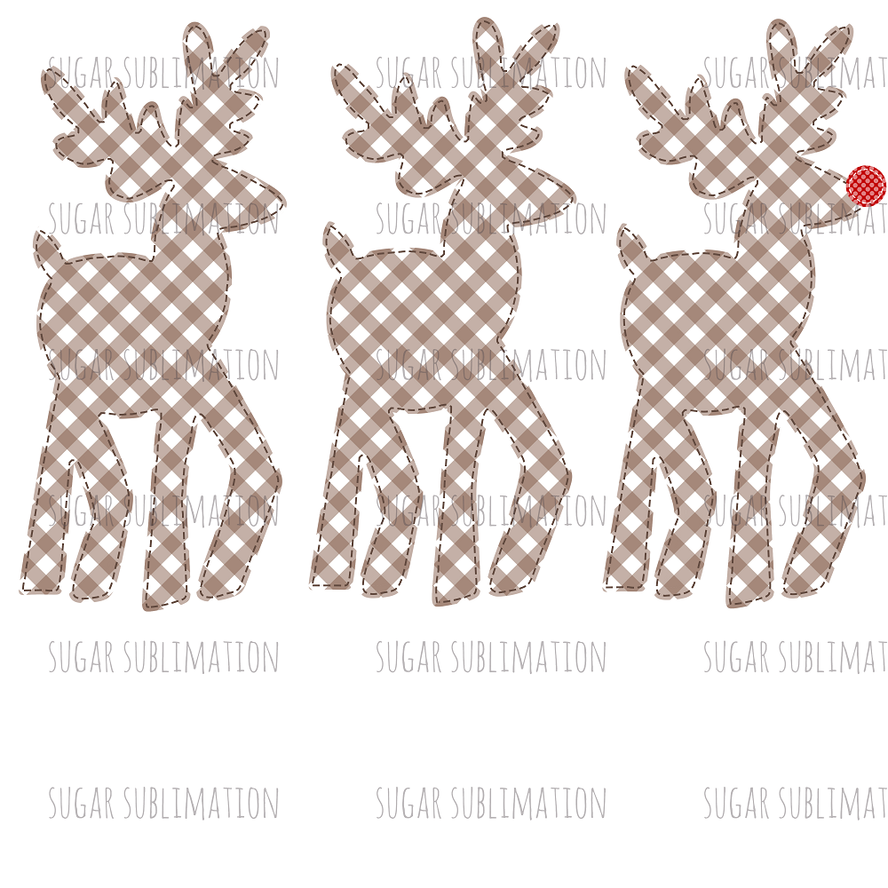 Reindeer Trio- gingham - sublimation transfer