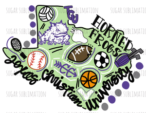 TCU - football state - DOODLE - sublimation transfer