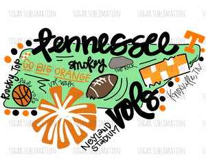 Tennessee Vols - football state -DOODLE - sublimation transfer