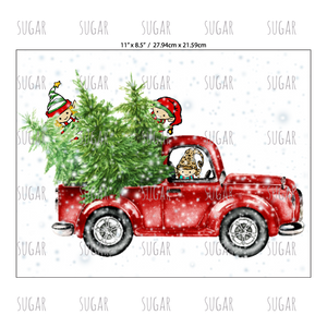 Christmas Red Truck.Christmas Red Truck W Elves Snow Sublimation Transfer