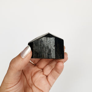 Black Tourmaline Chunks - Nepal (Polished Base)