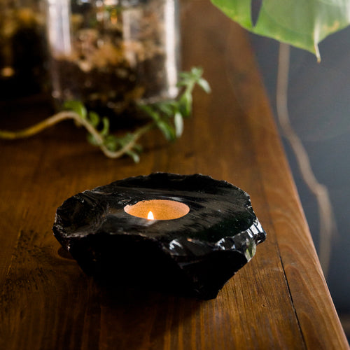 Obsidian Candle Holder