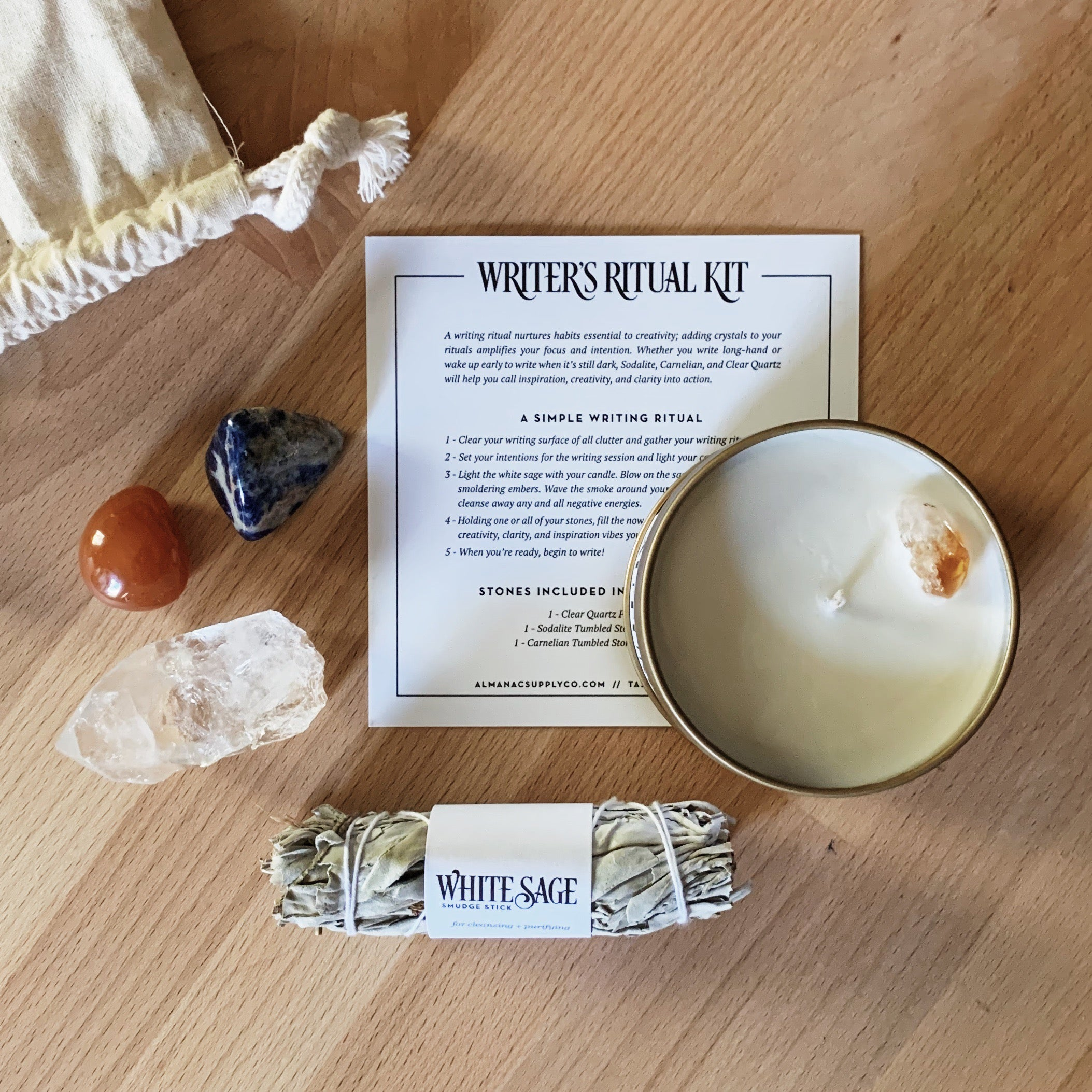Writer's Ritual Kit with Crystals, Candle, and Sage