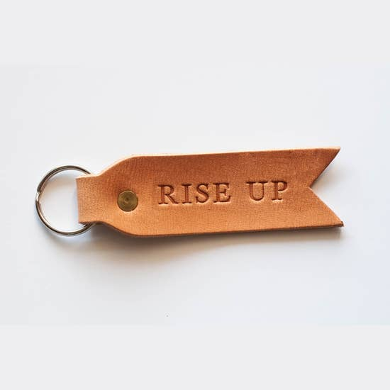 Dear Heart Rise Up Leather Key Fob
