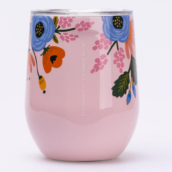 Rifle Paper Co. x Corkcicle 12 oz. Stemless Wine - Pink Lively Floral