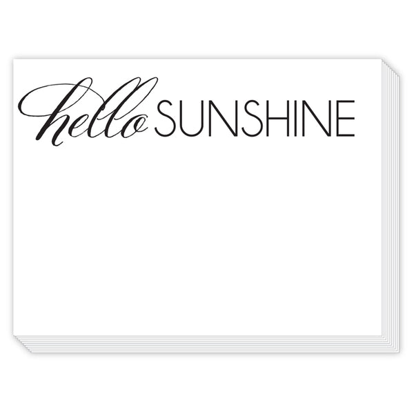 "Typography and quotes come together to create these quirky and fun slab pads. With sayings printed in black ink on white text paper, there's no holding back. Say it like you mean it!   Typography and quotes Tied with ribbon Slab: 150 sheets, 6x8"" 90# paper Made in USARosanne Beck Slab Pad - Hello Sunshine"