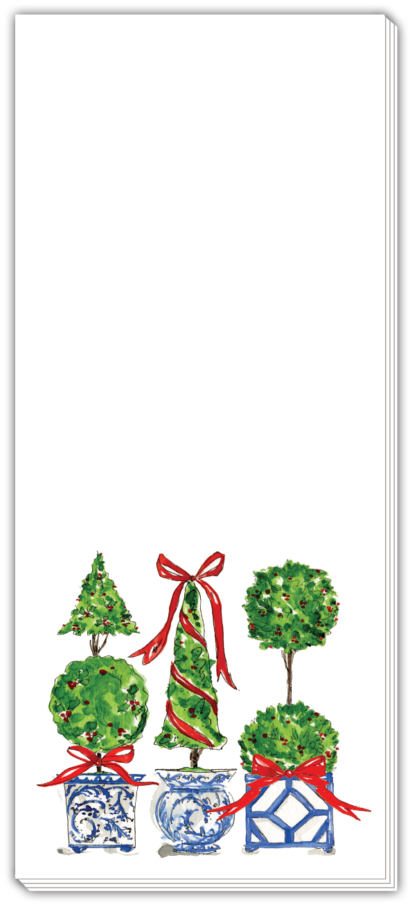 Rosanne Beck Skinny Notepad - Christmas Topiary Trio