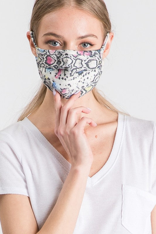 Stylish Face Mask - Snake, Blue Mix