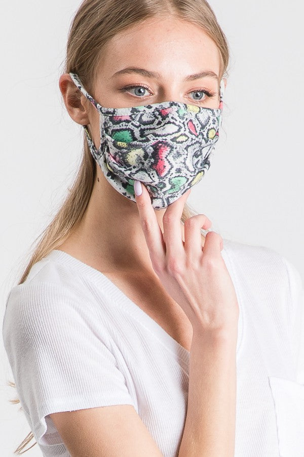 Stylish Face Mask - Snake, Green Mix