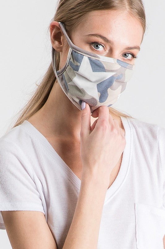 Stylish Face Mask w/Filter Pocket - Camo Star