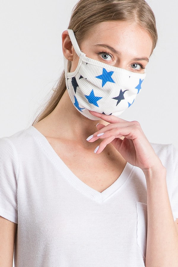 Stylish Face Mask w/Filter Pocket - Blue Star