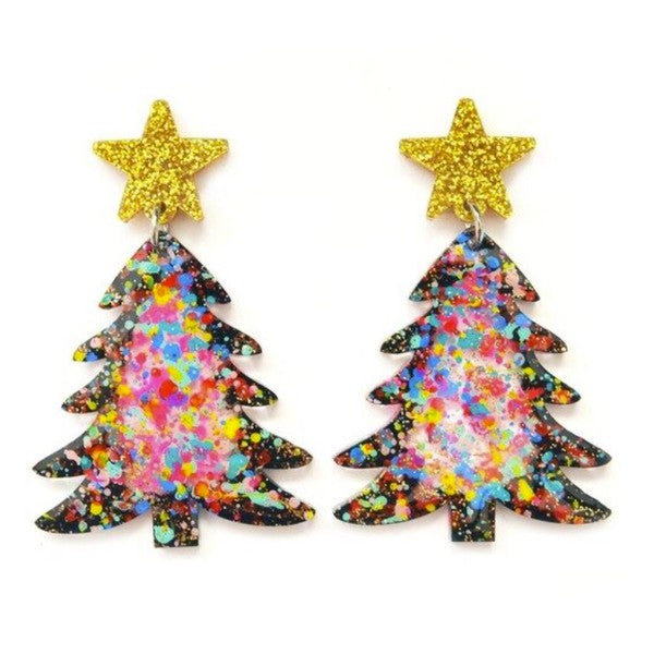 Acrylic Christmas Tree Drop Earrings