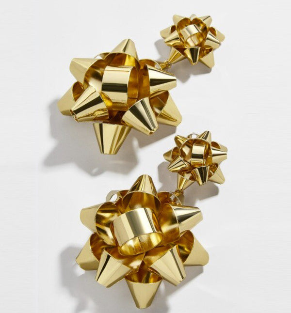 Christmas Bow Drop Earrings - Gold