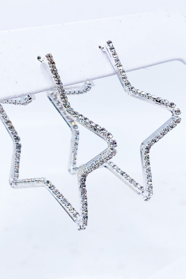 Crystal Star Hoop Earrings - Silver