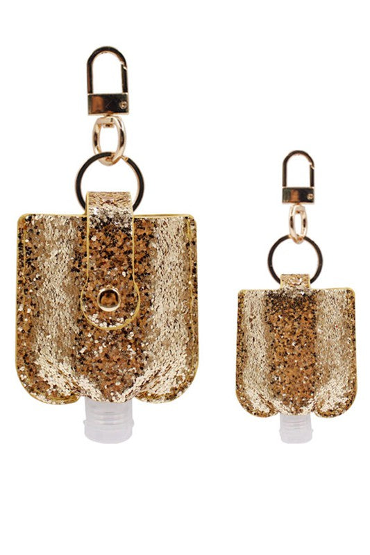 Glitter Keychain Hand Sanitizer Holder - Gold