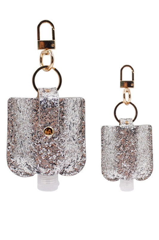 Glitter Keychain Hand Sanitizer Holder - Silver