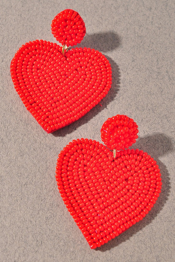 Cupid Beaded Heart Earrings - Red