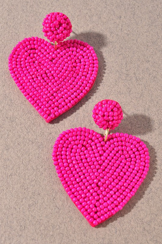 Cupid Beaded Heart Earrings - Hot Pink