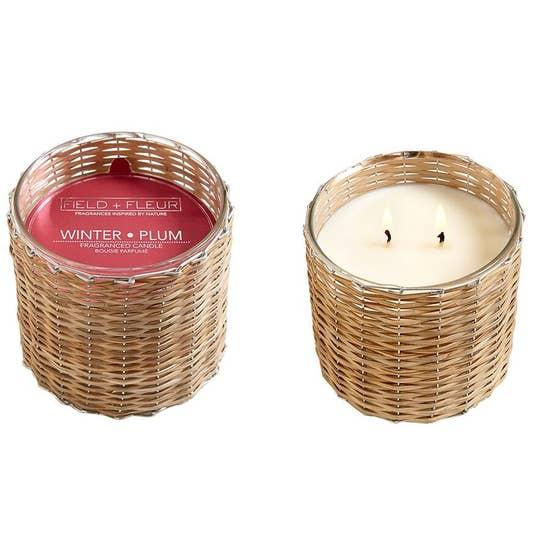 Field+Fleur - Winter Plum 2 Wick Handwoven Candle 12oz.