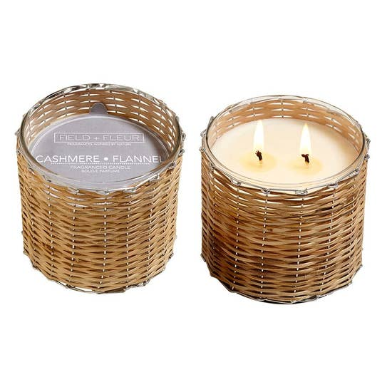 Field+Fleur - Cashmere Flannel 2 Wick Handwoven Candle 12oz.